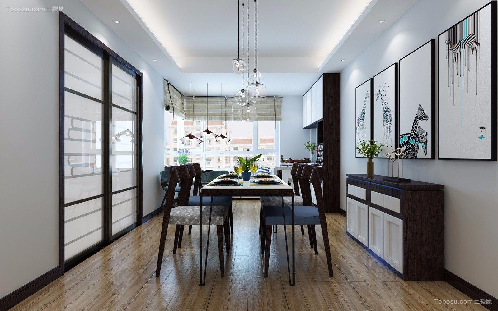 餐厅白色推拉门现代简约风格装潢效果图