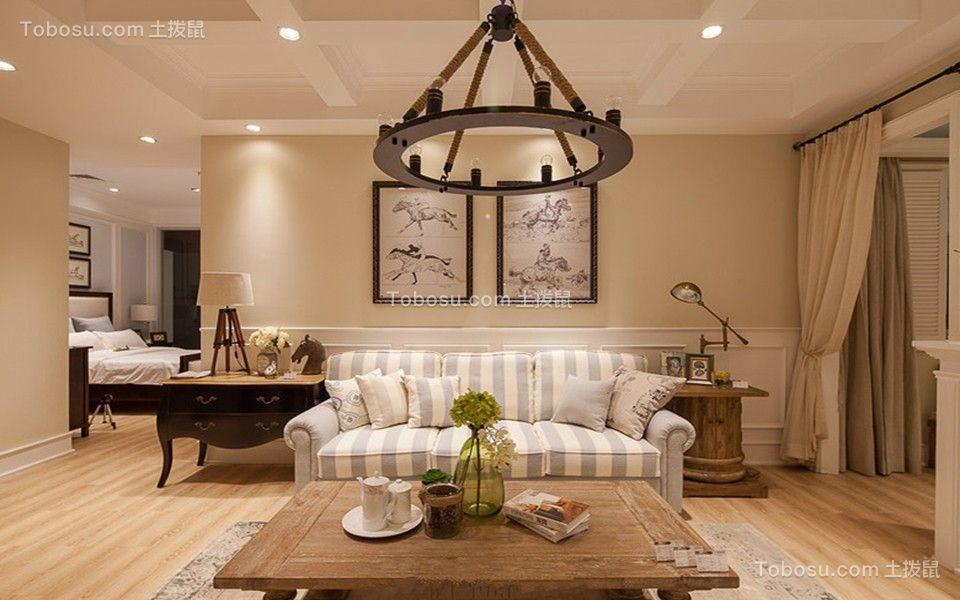 田园风格115平米三室两厅室内装修效果图