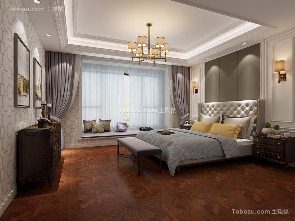 卧室灰色床美式风格装饰设计图片