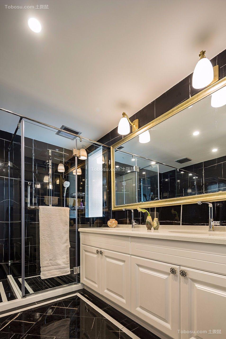 卫生间黑色地砖法式风格装饰效果图