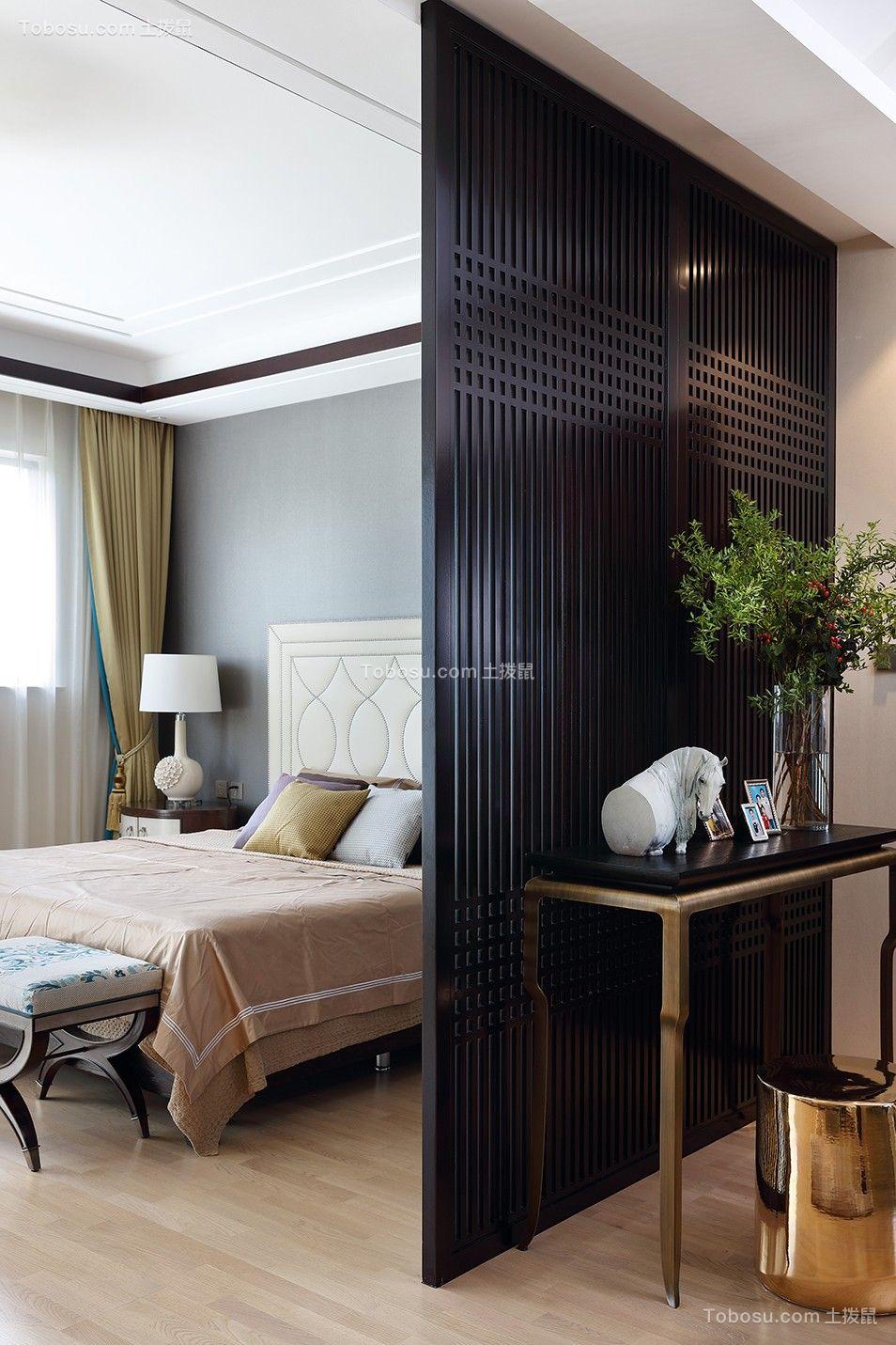 卧室黑色隔断中式风格装潢效果图