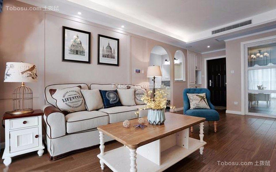 80㎡美式风格二居室装修效果图