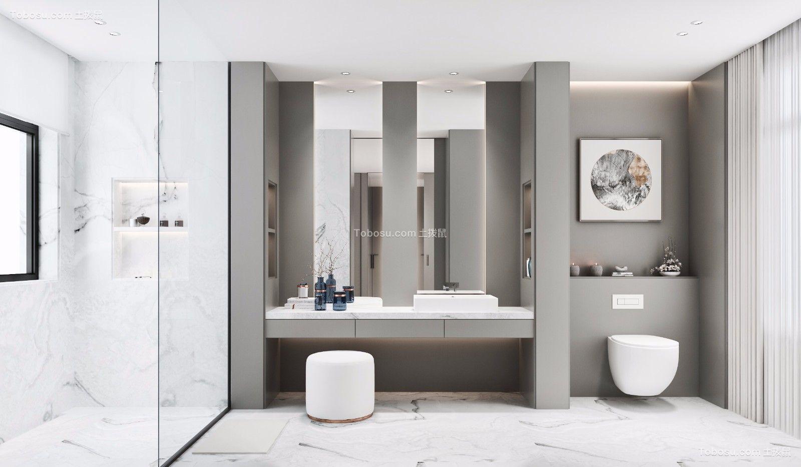 卫生间灰色洗漱台简约风格装饰效果图