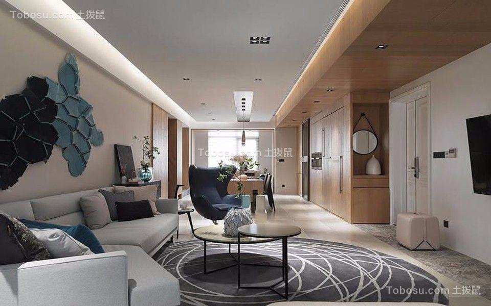 现代风格128平米3房2厅房子装饰效果图