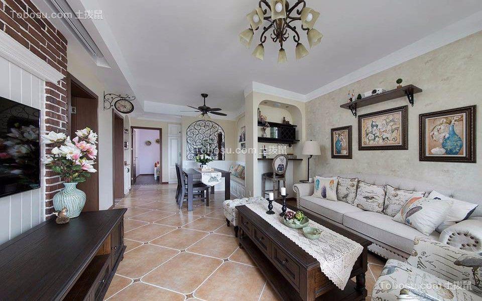 82平米美式风格二居室装修效果图