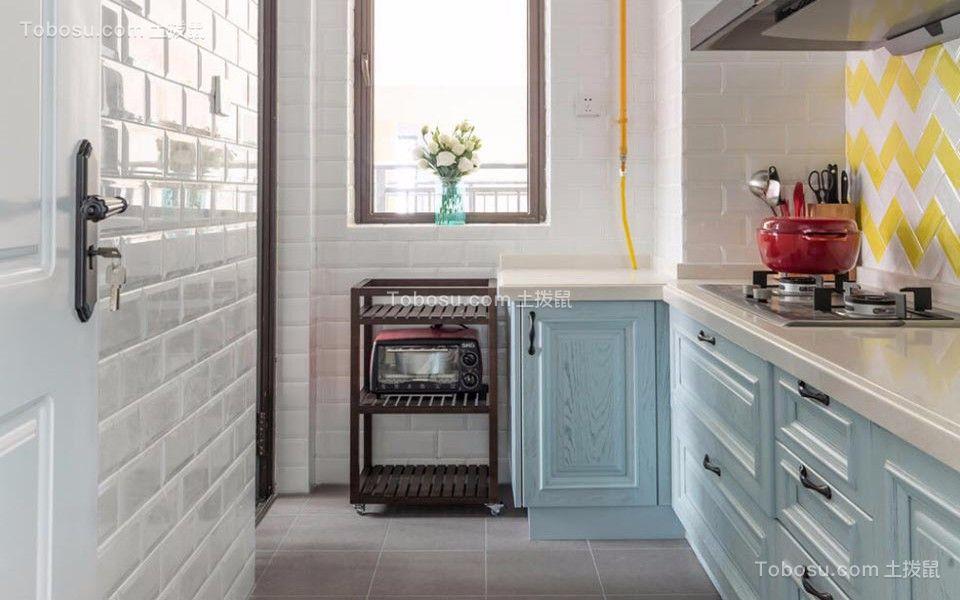 厨房白色橱柜混搭风格装修设计图片