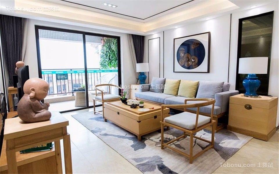 富丽山庄93平新中式风格两室两厅一卫装修效果图
