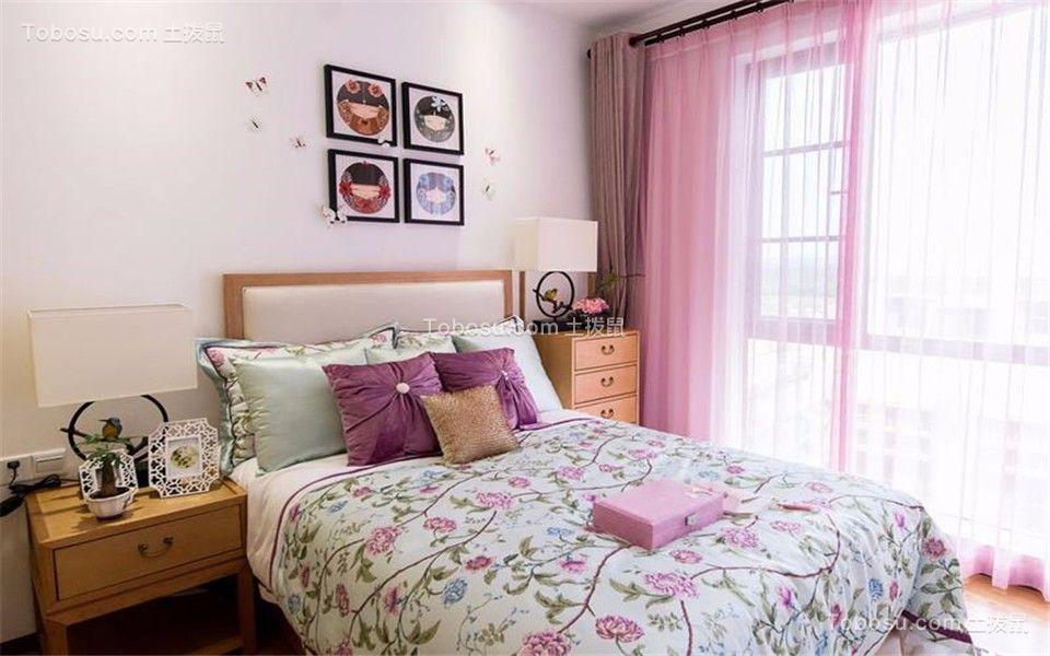 卧室粉色窗帘新中式风格装饰效果图