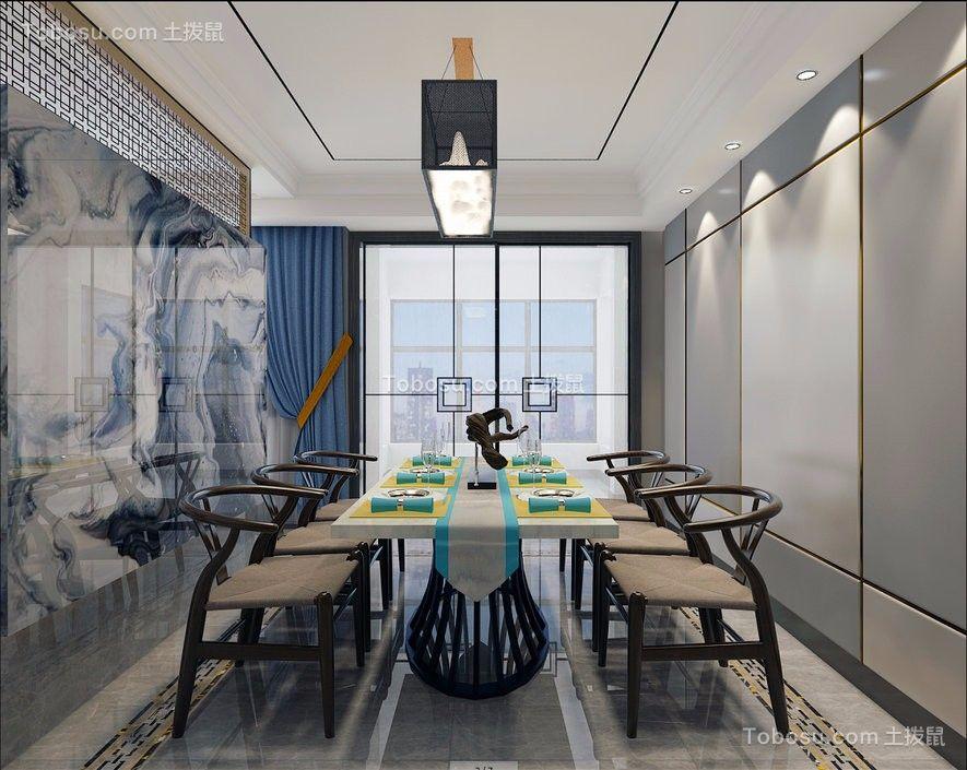 餐厅灰色背景墙新中式风格装潢图片