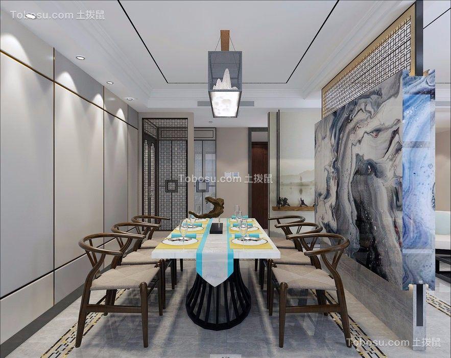 餐厅灰色背景墙新中式风格装修设计图片