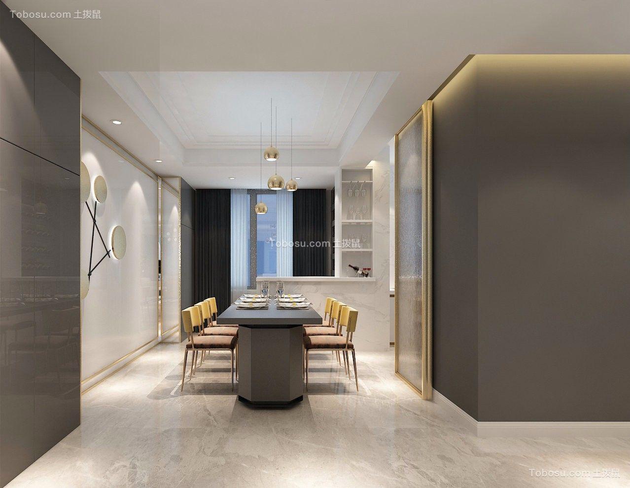 餐厅灰色背景墙简约风格装潢设计图片