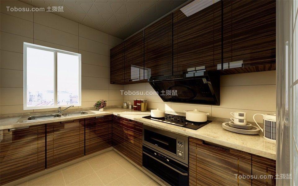 厨房白色橱柜简欧风格装潢设计图片