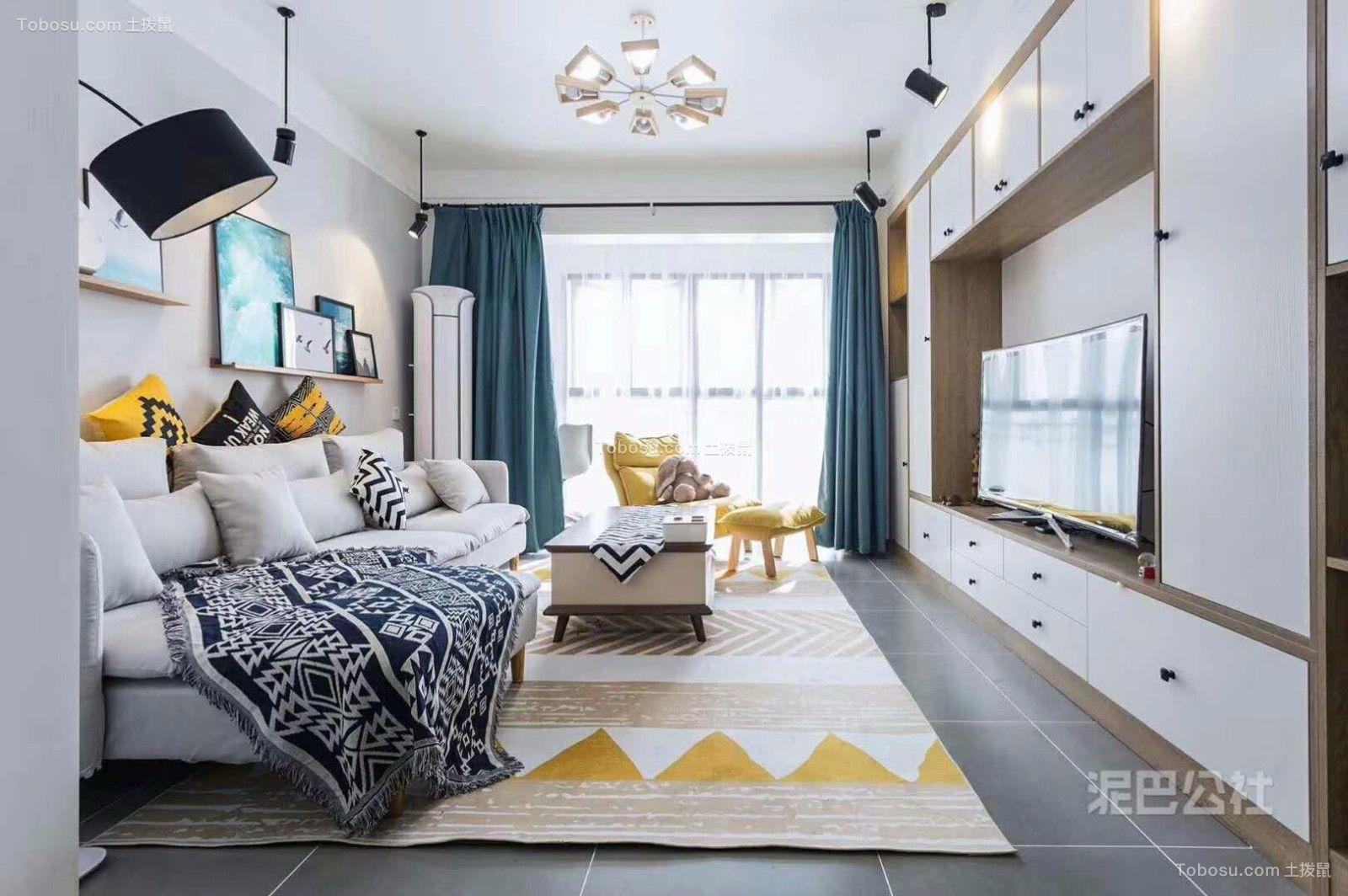 明园九龙湾100平米现代简约风格三居室装修效果图