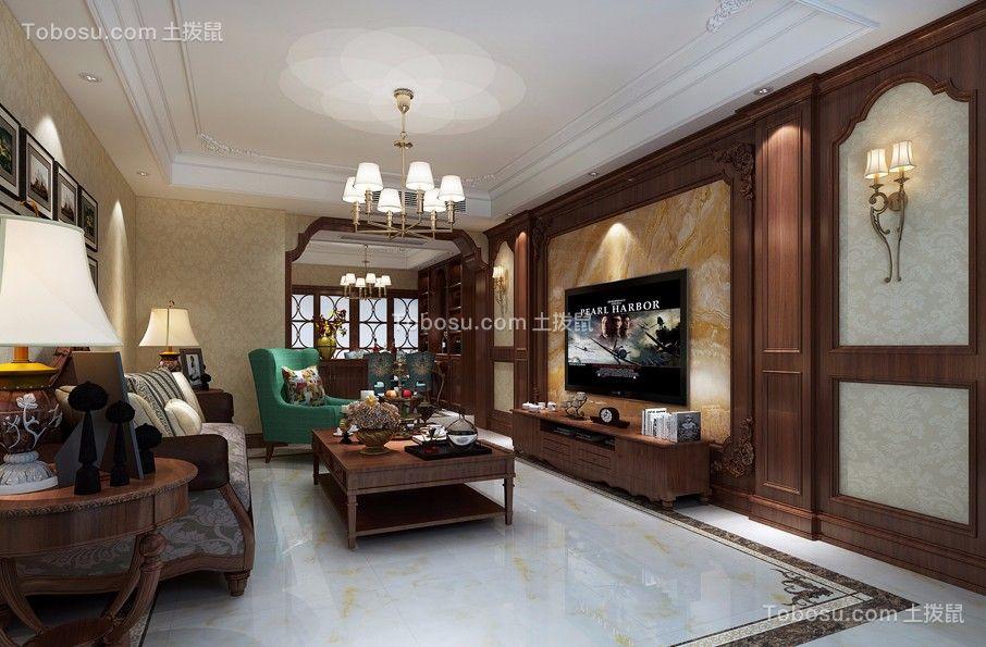 美式风格125平米三室两厅室内装修效果图