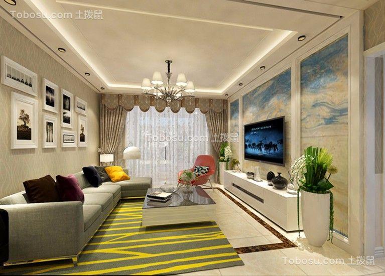 现代风格98平米两室两厅室内装修效果图
