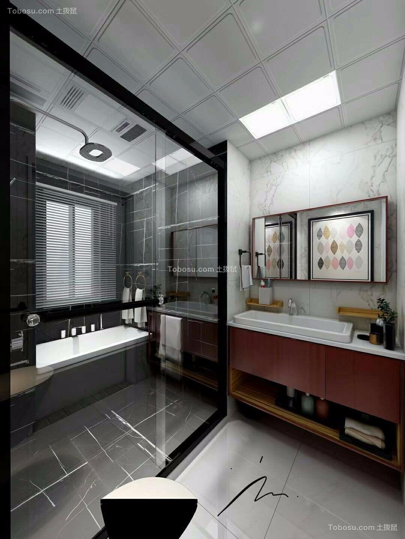 卫生间白色地板砖简约风格装潢效果图