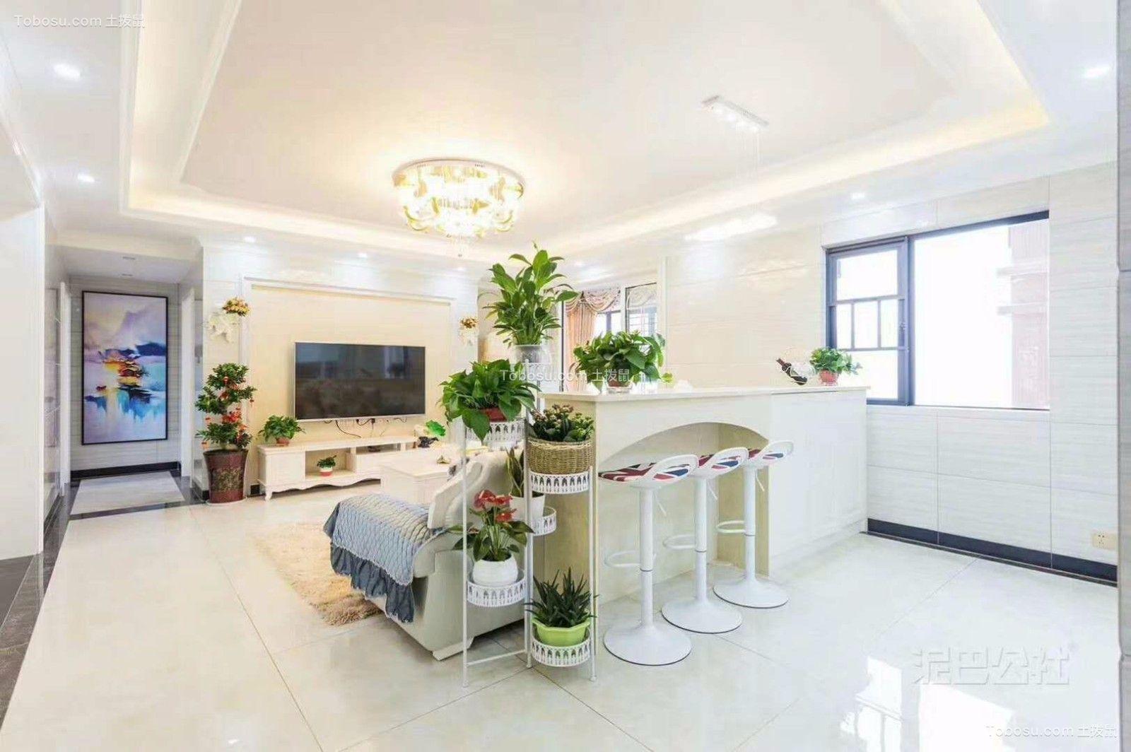 客厅白色隔断欧式风格装修设计图片