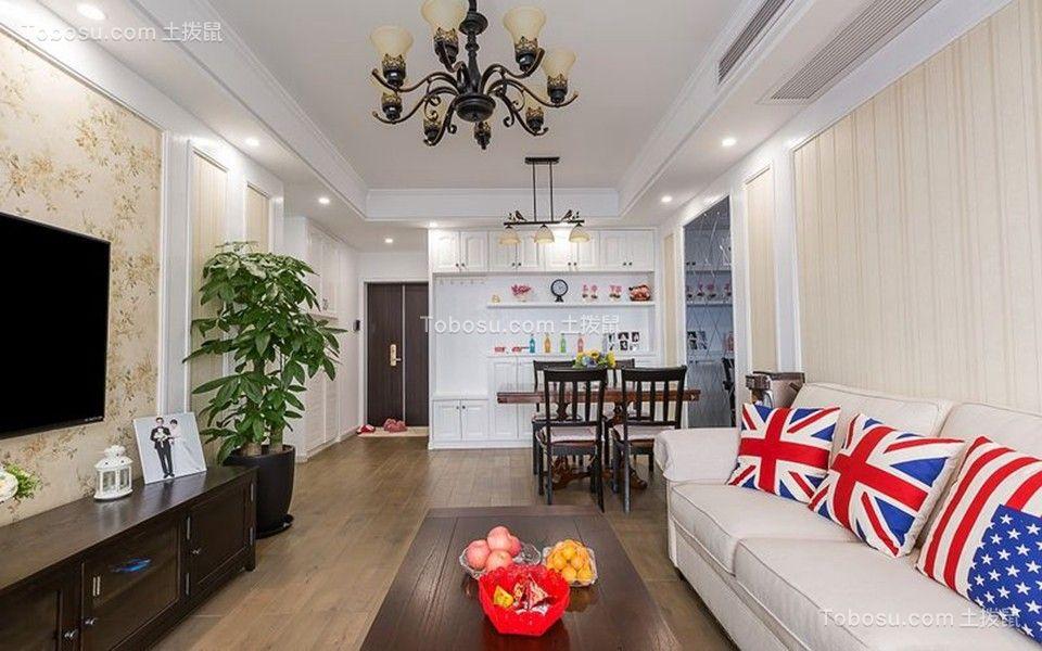 客厅咖啡色电视柜美式风格装修设计图片