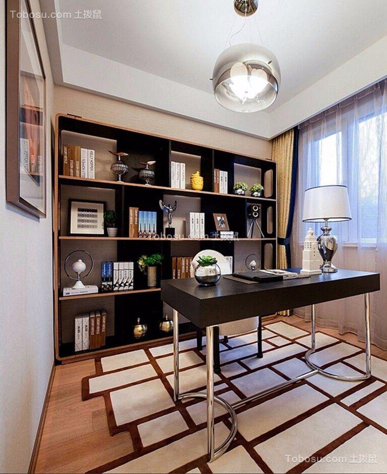 书房黑色书架后现代风格装饰设计图片