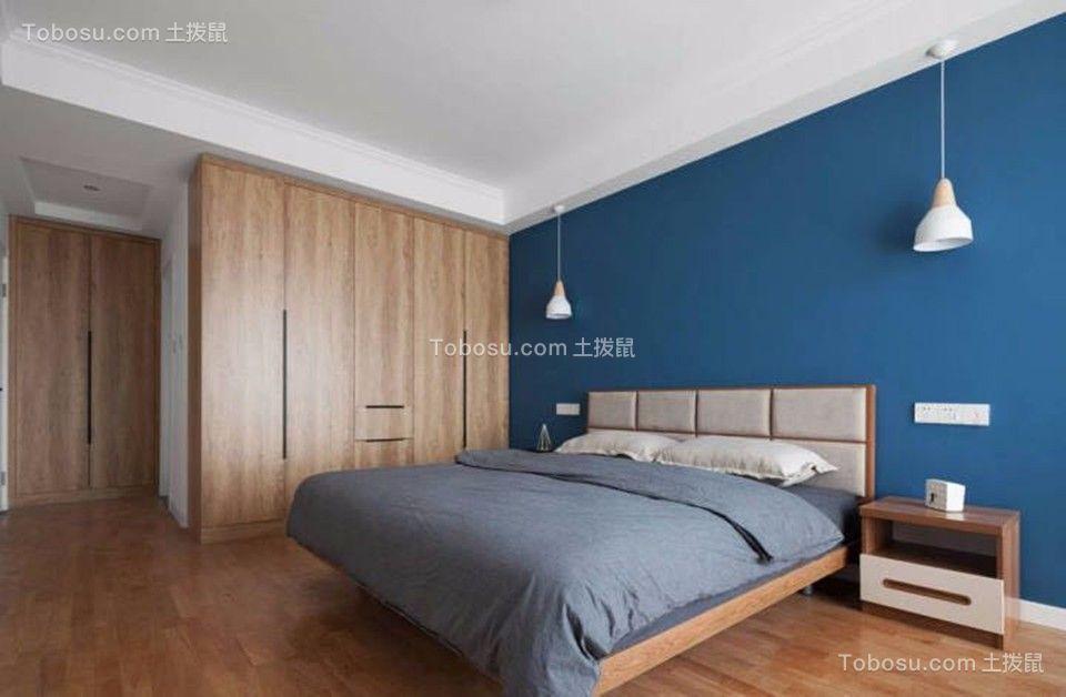 卧室蓝色背景墙现代简约风格装修图片