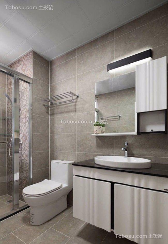 卫生间白色洗漱台现代简约风格装饰图片