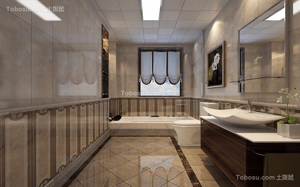 卫生间灰色洗漱台经典风格装修设计图片