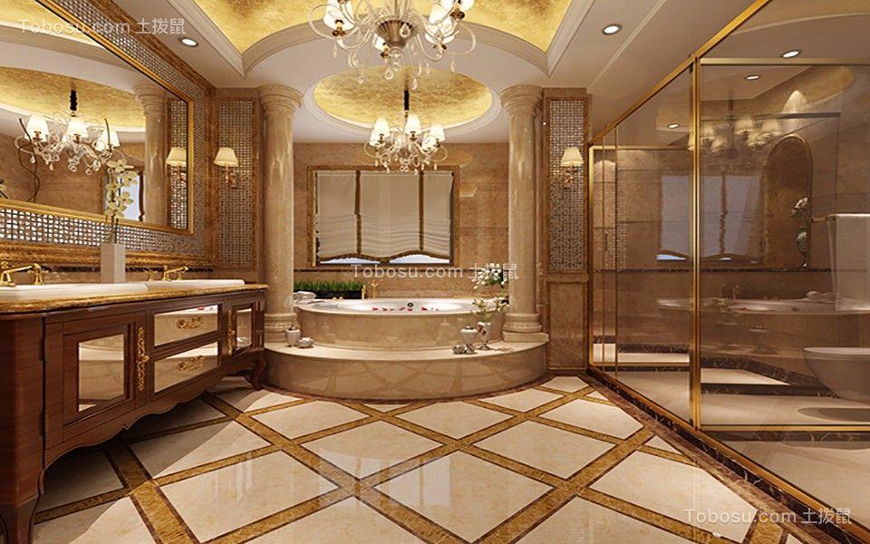 卫生间灰色洗漱台法式风格装潢图片