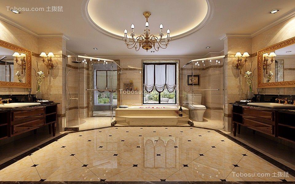 卫生间咖啡色洗漱台简欧风格装修效果图