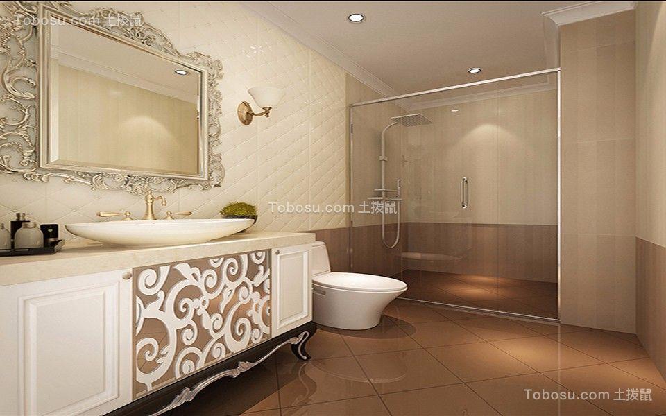 卫生间咖啡色洗漱台现代简约风格装潢效果图