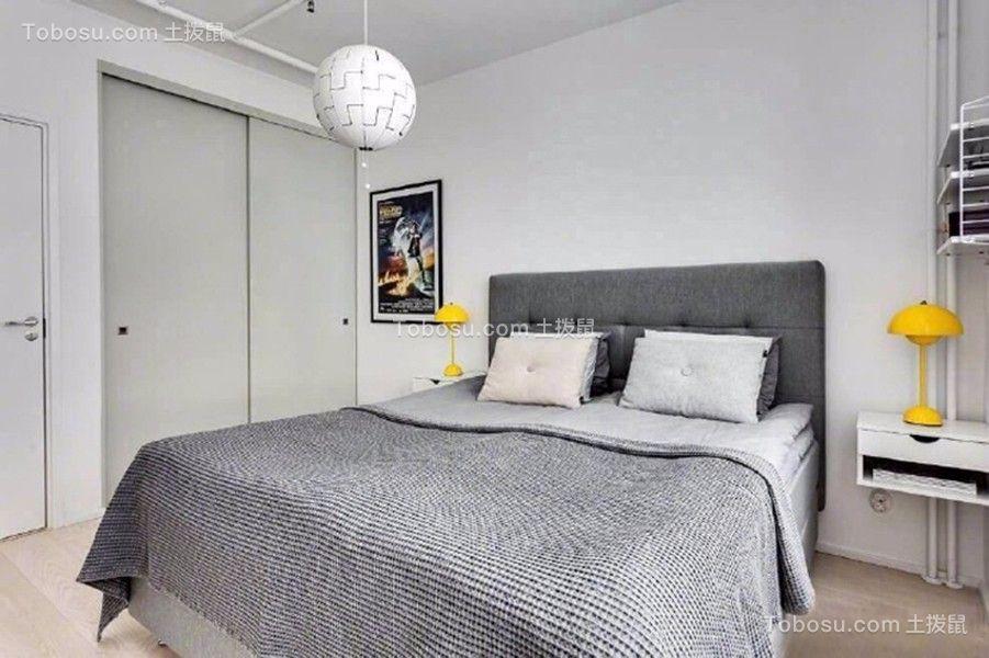 卧室灰色推拉门现代简约风格装潢效果图