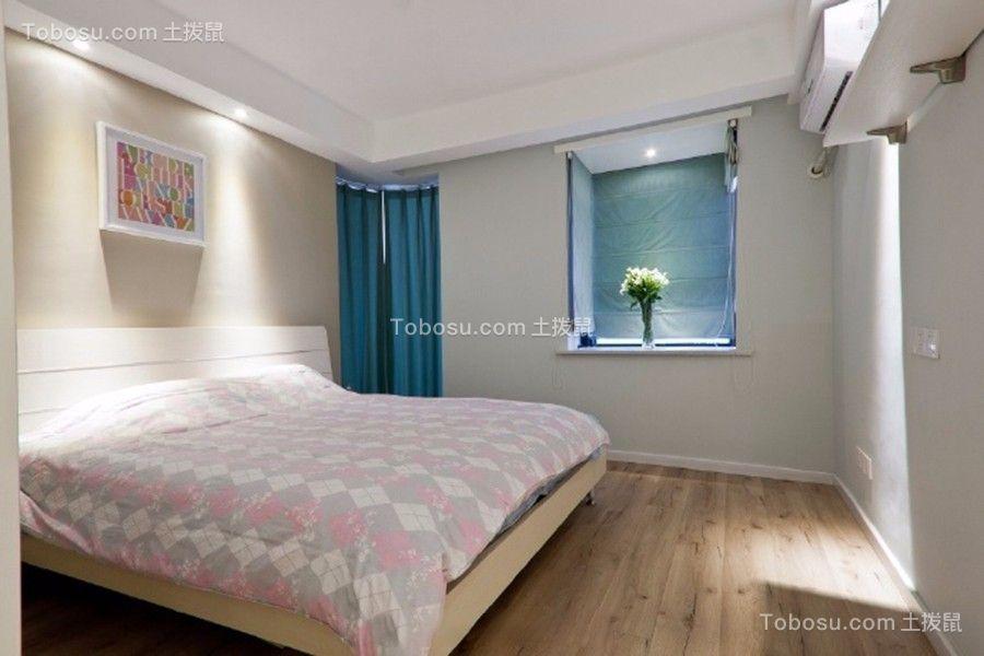 卧室蓝色窗帘北欧风格装饰图片