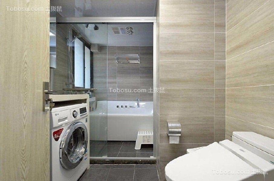 卫生间黑色地板砖现代简约风格装潢图片