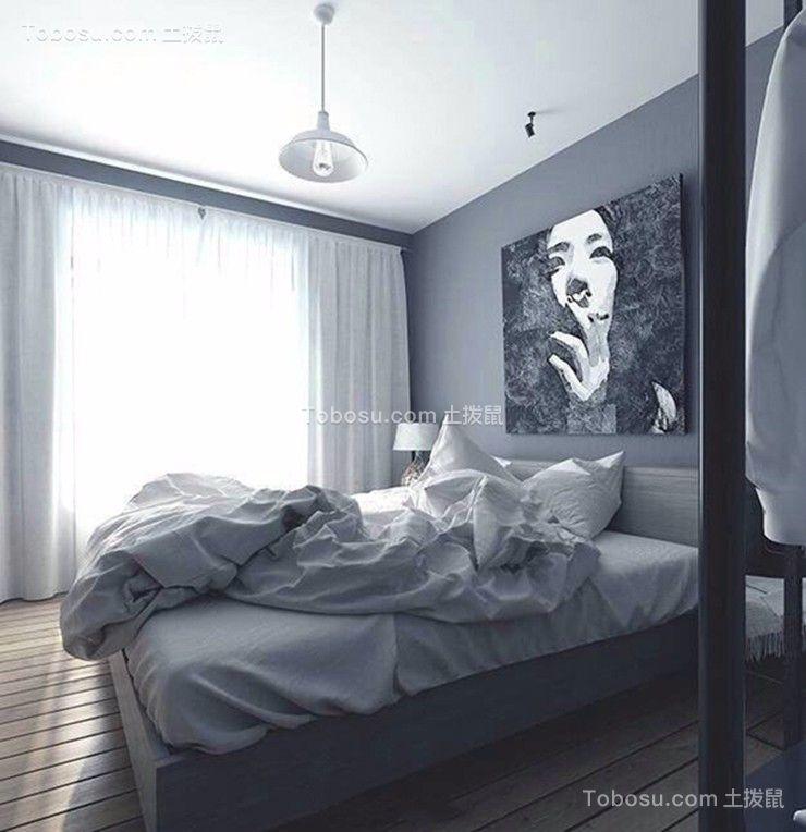 卧室白色窗帘简欧风格装潢设计图片