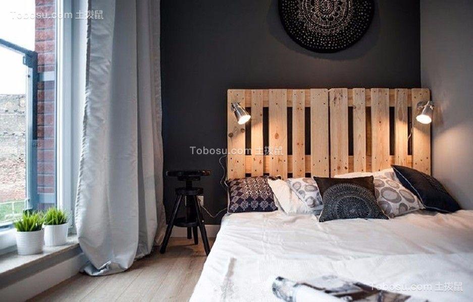 卧室灰色窗帘现代简约风格装饰图片