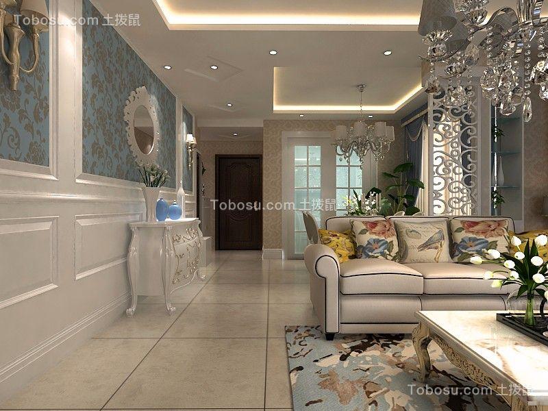 餐厅白色背景墙简欧风格装饰设计图片