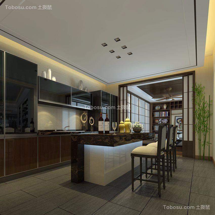 厨房咖啡色厨房岛台中式风格装修设计图片