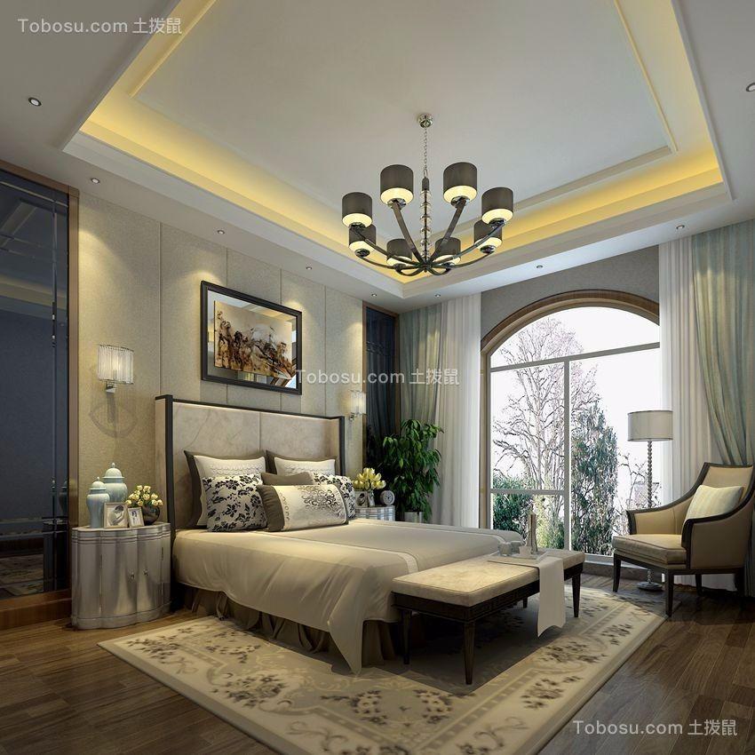 卧室咖啡色地板砖美式风格装修设计图片