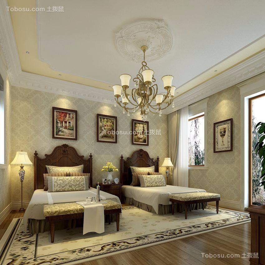 卧室 背景墙_欧式风格420平米别墅室内装修效果图