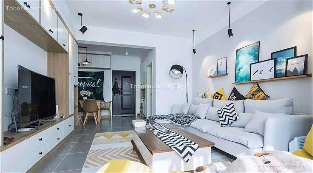 客厅灰色地砖混搭风格装潢效果图
