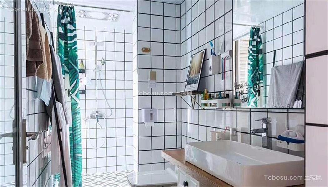 卫生间白色洗漱台混搭风格装饰图片
