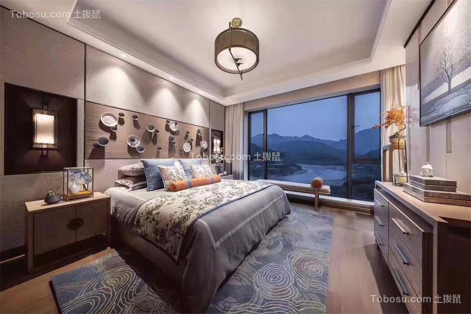 卧室灰色床新中式风格装修设计图片