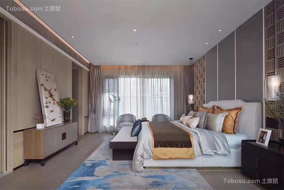 卧室灰色地板砖新中式风格装潢效果图