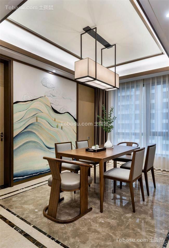 餐厅灰色地板砖新中式风格效果图