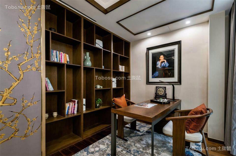 书房咖啡色书桌新中式风格装修效果图