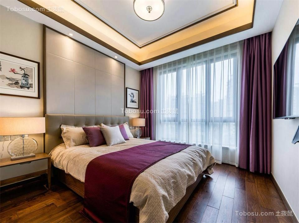 卧室紫色床新中式风格装饰效果图