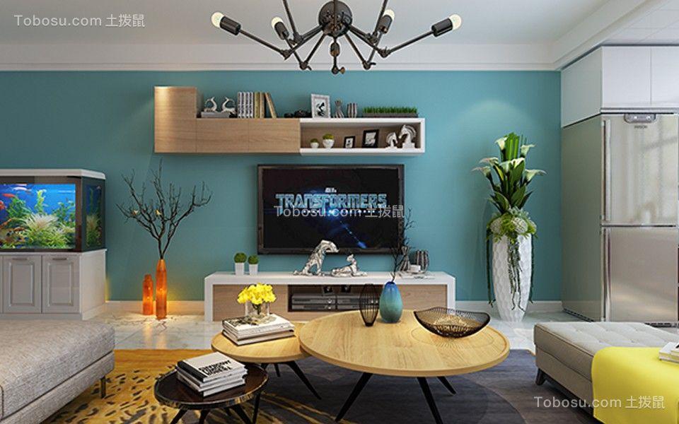 客厅绿色背景墙简约风格装修图片