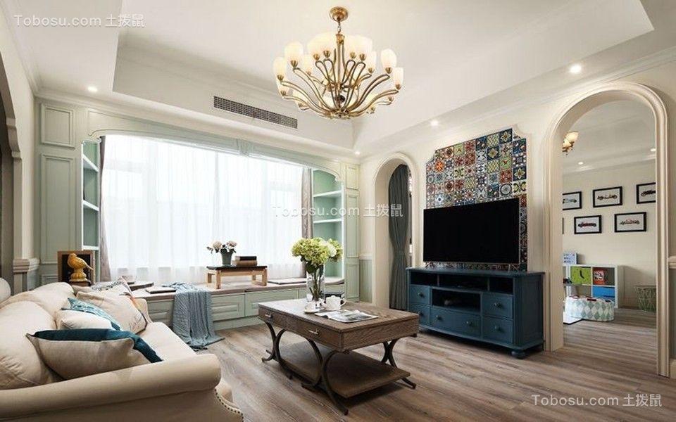 客厅蓝色电视柜地中海风格装饰设计图片