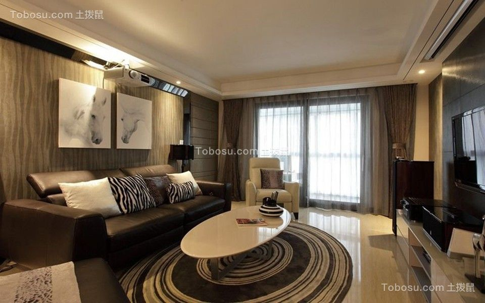 135平现代风格三居装修效果图
