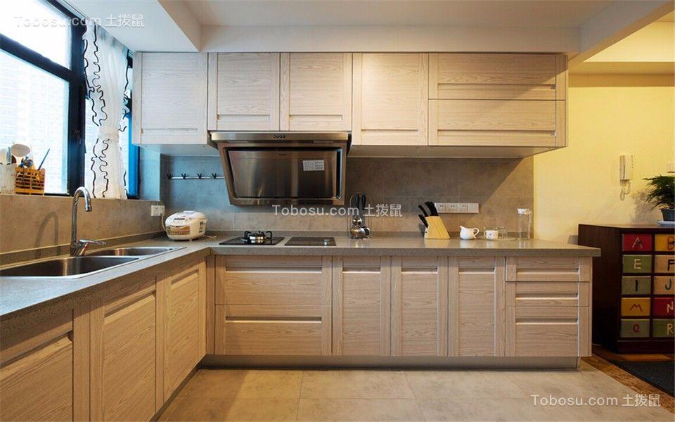 厨房灰色地砖地中海风格装修图片