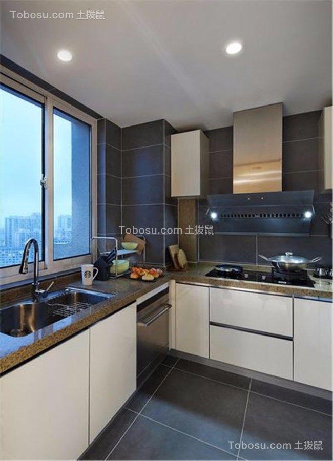 厨房黑色地砖现代简约风格效果图